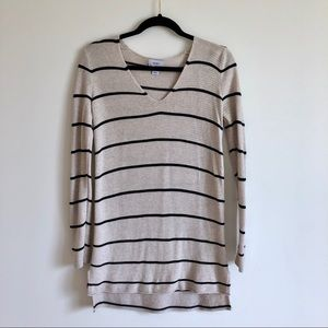 Old Navy Tan & Black Striped Tunic V Neck Sweater